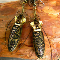 Steampunk Earrings - Zipper Earrings - Beetle Earrings