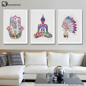 Watercolor Buddha Lotus Canvas Poster Abstract Minimalist Art Canvas Painting Wall Picture Print Modern Home Living Room Decor