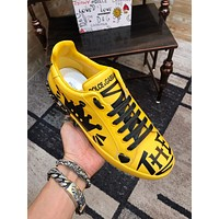 New Dolce& Gabbana Men Fashion Casual Sports Shoes Yellow Size 38-45