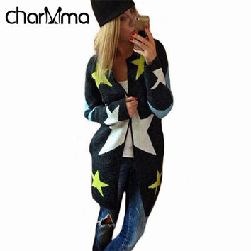 charMma 2017 Spring Cardigans Star Pattern Print Casual Long Knitted Cardigan Women Cashmere Long Sleeve Fashion Cardigans