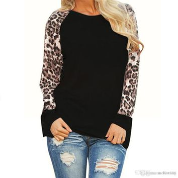 Leopard Women Top Blouses Long Sleeve Patchwork Shirt Tunic Tee Shirt Femme Blusas Mujer Plus Size S-5XL Drop Shipping #555