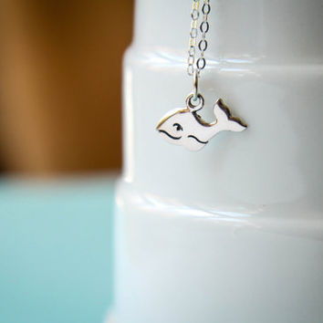 Happy Whale Necklace in Sterling Silver