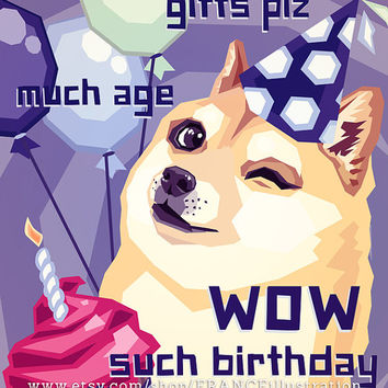 SALE Happy Birthday Doge Instant Download Card - Boys. Shibe Meme: Shiba Inu Dog. Geek humor. Dogecoin/4Chan humour. Kawaii Cute Dog Card.