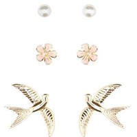 Gold Flower & Sparrow Stud Earrings - 3 Pack by Charlotte Russe
