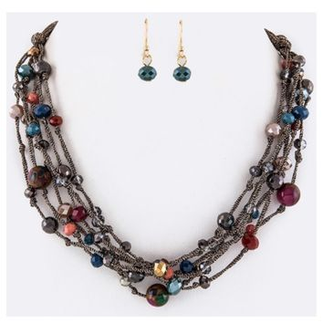 Multi Color Mixed Bead Layered Necklace Set