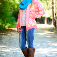Winter Rave Cardigan, Neon Pink