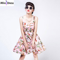 Women Summer Vintage Girl Printed Dresses 2016 Retro Style Audrey Hepburn Robe Rockabilly 50s 60s Swing Party Dresses MISSDRESS