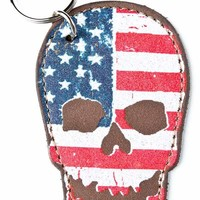 Leather skull flag keychain