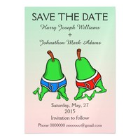 Fun Gay Pair Pear Save the Date Magnetic Invitations