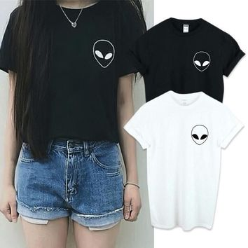 Alien Tee (Black,White) - Hot Women Short Sleeve Tee Blouse Casual Crop Top Alien Printing T-Shirt 2 Color