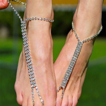 Gift New Arrival Jewelry Cute Ladies Shiny Sexy Stylish Accessory Rhinestone Chain Beach Ring Anklet [8169891719]