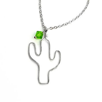 Cactus Necklace - Southwestern Necklace, Saguaro Necklace, Statement Jewelry, Bohemian Necklace, Gift for Her