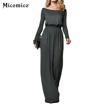 Women Elegant Maxi Dress 2017 Loose Long Sleeve Retro Slash Neck Spring Autumn Casual High Waist Long Party Gown Dresses Vestido