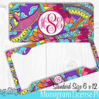 Optical Paisley Monogram License Plate Frame Holder Metal Wall Sign Tags Personalized Custom Vanity Plate