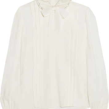 Miu Miu - Pussy-bow embellished pleated crepe de chine blouse