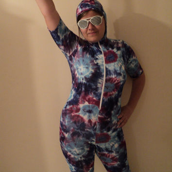 SAMPLE SALE mjcreation unitard catsuit skinsuit with hood m ready for shipping