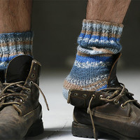 Mens blue socks gift idea Valentines day for him by Muza on Etsy