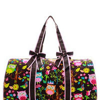 Owl Print Quilted Duffel Bag - 2 Color Choices