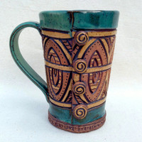 Rustic Stoneware Button Mug  - Hand Built and Carved -  Blue Green, Turquoise, Brown, Tan - Unique, Original