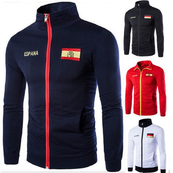 New Male Clothes Size Jacket Stand Collar Men German Spain Flag Embroidery  Movement Spring Autumn Coat Baseball Uniform