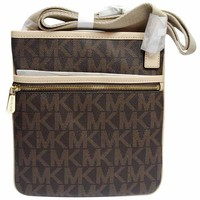 Michael Kors 32F1GJSC3B-200 Women's Jet Set Large Crossbody Brown PVC Shoulder Bag