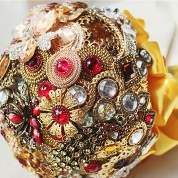 Handmade Brooch Bouquet - Luxury Gold and Red - Custom Made Bridal Bouquet - Personalizable Wedding Bouquet