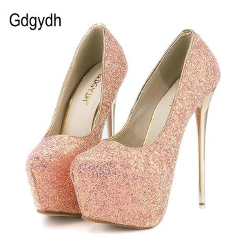 Gdgydh Fashion Women Heels Platform Shoes New Spring Bling Women Pumps Thin Heels Sexy Slim Party Shoes High Heels