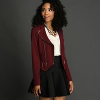 Burgundy Asymmetrical Moto Jacket
