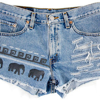 Tribal/Aztec Elephant Shorts, Hand Painted, Vintage Distressed High Waisted Denim, Upcycled W31