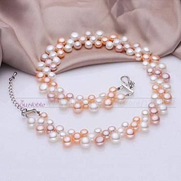 3 row natural freshwater choker multilayer pearl necklaces women,real pearl necklace wedding bridesmaid collar mom birthday gift