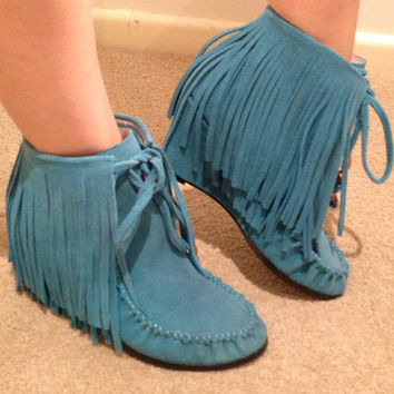 Vintage Boho Tassel Turquoise Suede Wedge Boots by PeaceLoveShop22