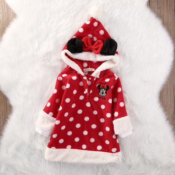 Christmas Kids Baby Girls Clothes Minnie Sweatshirt Hooded Coat Outfits Warm Clothing Top Outfits Set