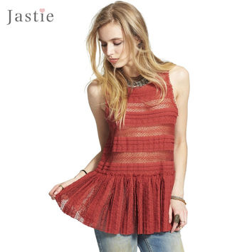 Jastie Women Sweet Floral Lace Crop Top Sleeveless Pucker Lace Textured Peplum Tank Tops Textured Lace Camisole Boho Vest Blouse