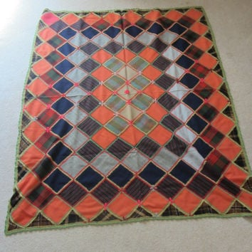 SPRING SALE Handmade Wool Patchwork Afghan Throw Fall Colors Orange Green Gray Navy Plaid Crochet Trim Decorative Stitching