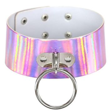 PINK Rainbow PU Leather choker necklace gift for women Holographic Choker O Round Metal Chocker fashion jewelry