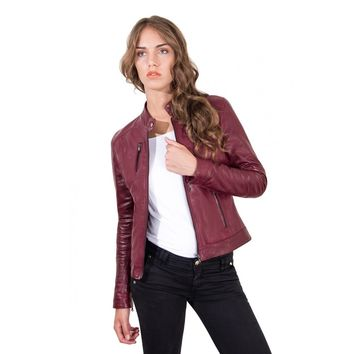 Women's Leather Jacket genuine soft leather biker korean collar green color Giulia