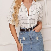 Pocket Front Grid Print Blouse