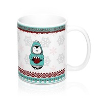 Perfect Little Penquin Cozy MugSnowflakes And Borders
