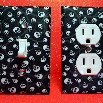 Set of 2 Scattered Skulls Wall Plates Any Styles by ELECTRIKKRAYON
