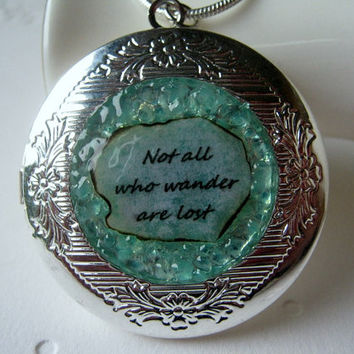Not all who Wander are Lost Necklace JRR Tolkien Famous Verse Blue Green Aquamarine Birthstone Quote Locket March Birthday Christmas Gift