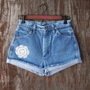 "High waisted denim shorts with crocheted doily trim coachella festival blue cut offs urban eco clothing upcycled 28"" waist"