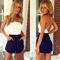 Strappy Lace Upper Backless Romper