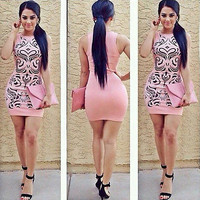 Fashion Women  Pink Elegant Dress Summer Sexy Sleeveless Party Evening Print Floral  Short  Mini Dress