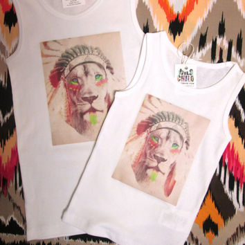 Marley Lion Headdress tank top vintage art Boho kids clothes shirt boys girls toddler tee cat Indian Western Boho outfit Native American