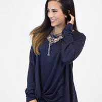 Navy Long Slv. Knot Top