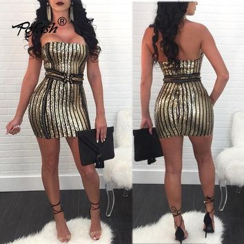Autumn Strapless Sequin Mini Dress