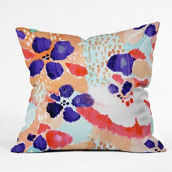 CayenaBlanca Ikat Flowers Throw Pillow