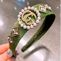 GUCCI Fashion New Letter More Pearl Personality Headband Hair Clasp Women Green