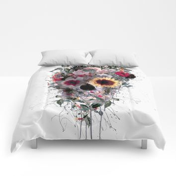 Skull Floral Comforters by RIZA PEKER
