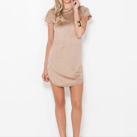 Day To Night Faux Suede Shift Dress